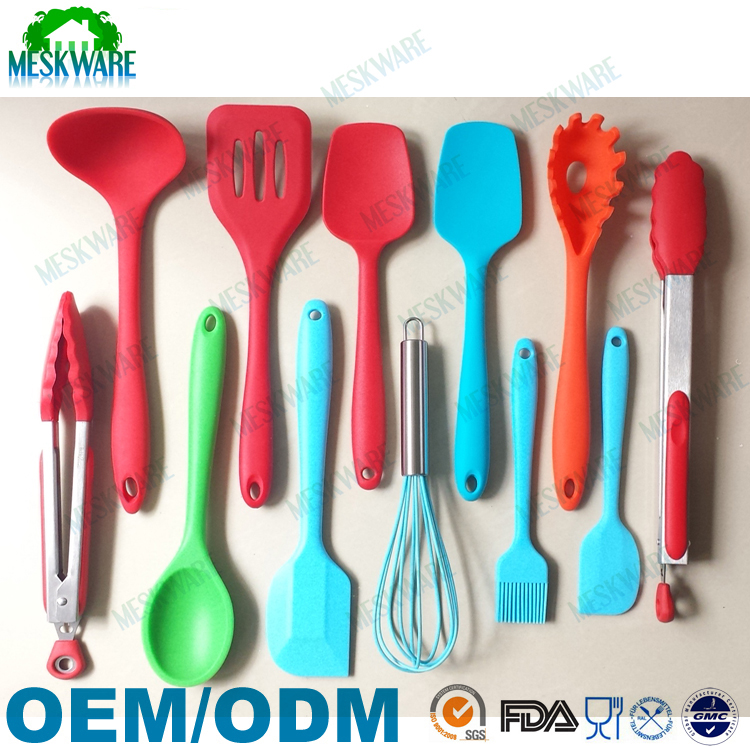 Christmas cooking utensils gift 12 piece complete kitchen set, colorful kitchen utensils set