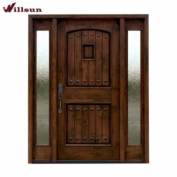 Old Fashion Wood And Wrought Iron Front Entry Doors With 2 Side