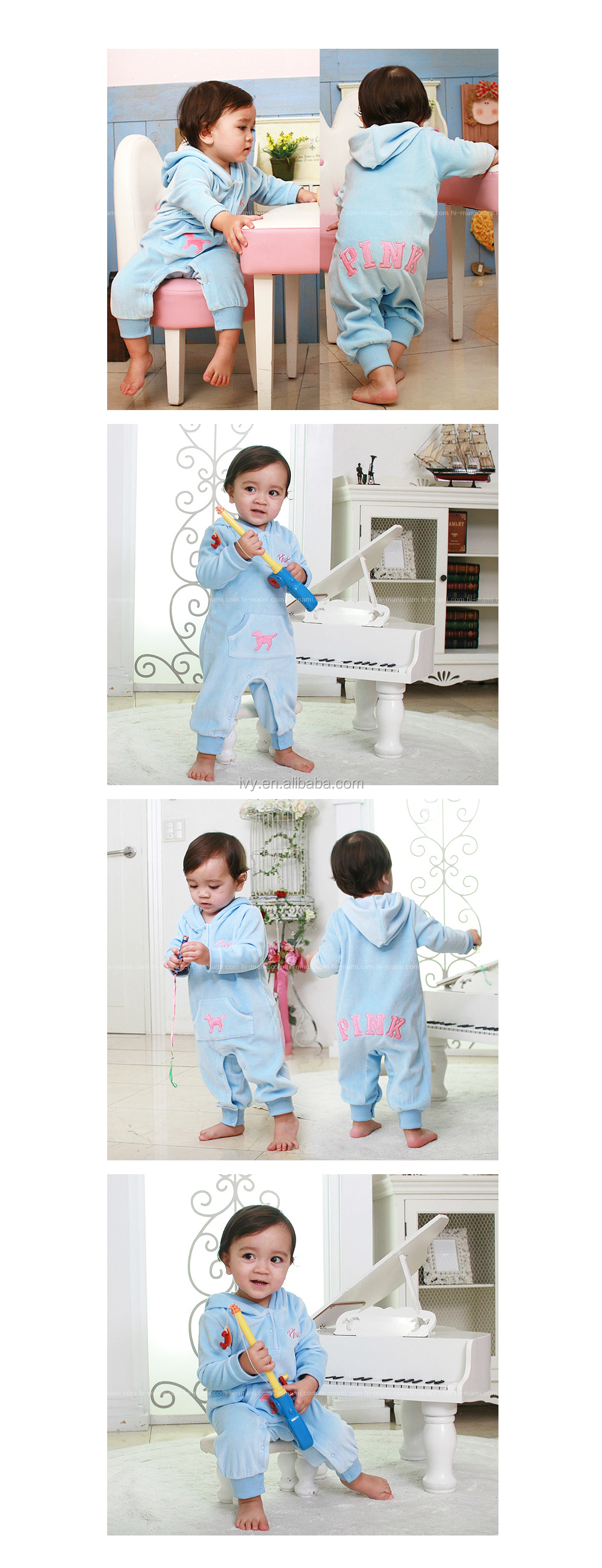 Velvet Kids Longsleeve Rompers Baby Outerwear Wholesale Clothing Drop Shipping