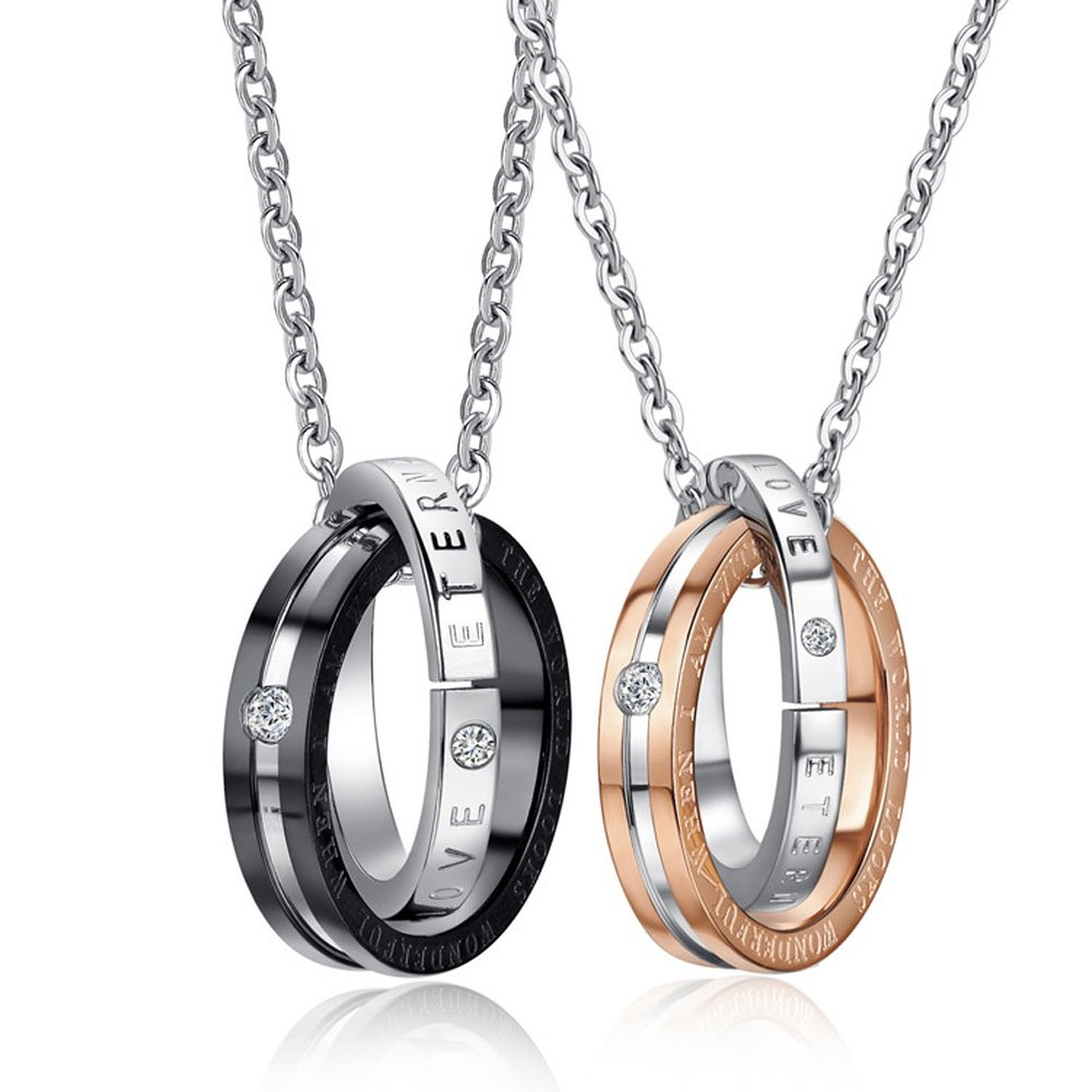 55909ee666 Get Quotations · 2PCS His & Hers Matching Set Titanium Stainless Steel  Couples Pendant Necklace