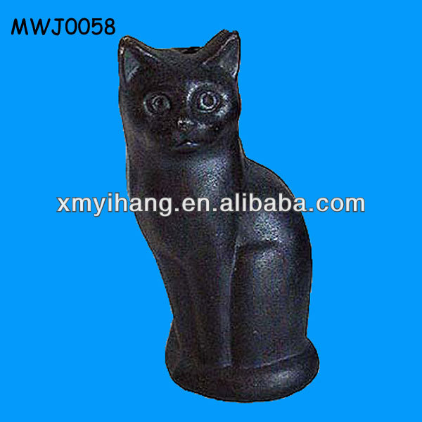 Black Resin Garden Cat Statue