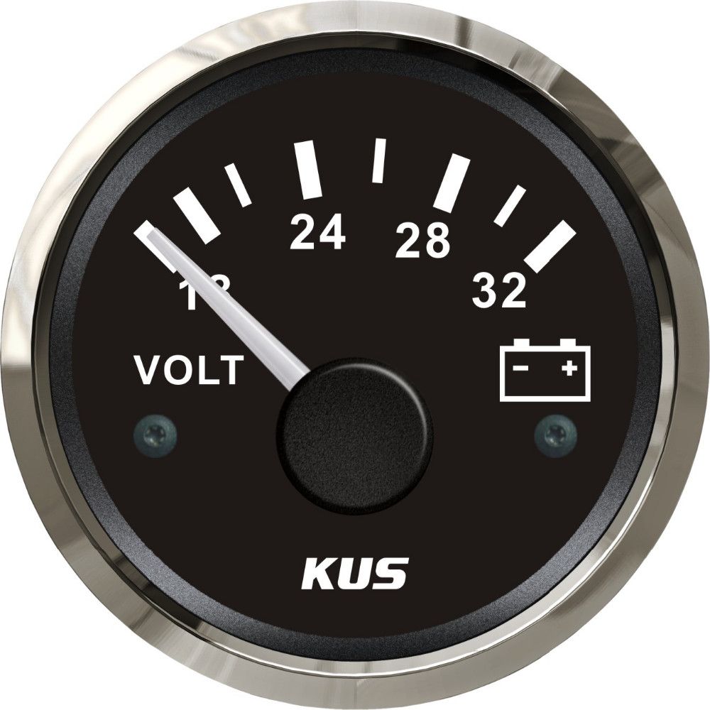 52mm voltmeter gauge volts meter black face volts 316 stainless steel bezel 18-32V for car truck marine boat yatch LED backlight