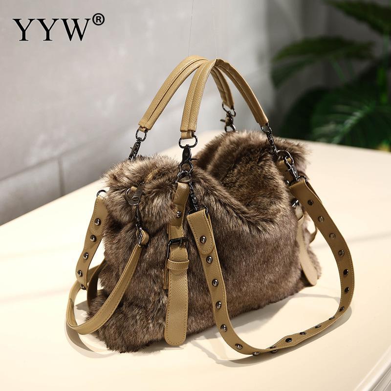c6624a490ddc 2018 Winter Soft Faux Fur Bag Fashion Women Fur Tote Bag Warm Pu ...