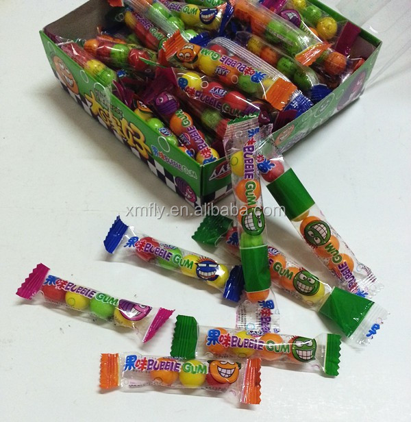 Chewing candy roll fruit bubble gum long stick package