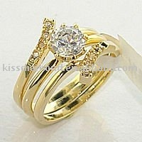 14K Gold Plated Unique CZ Wedding Ring