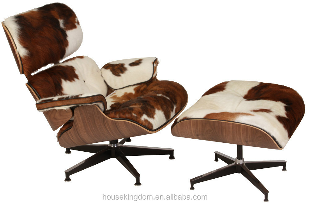 Replica Charles Lounge Chair With Ottoman In Pony Skin