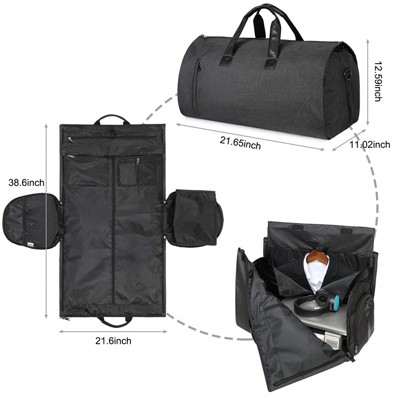 Custom 2 In 1 Convertible Suit Cover Carry On Travel Duffel Garment Bag  With Shoulder Strap 8e494d2af0e5e