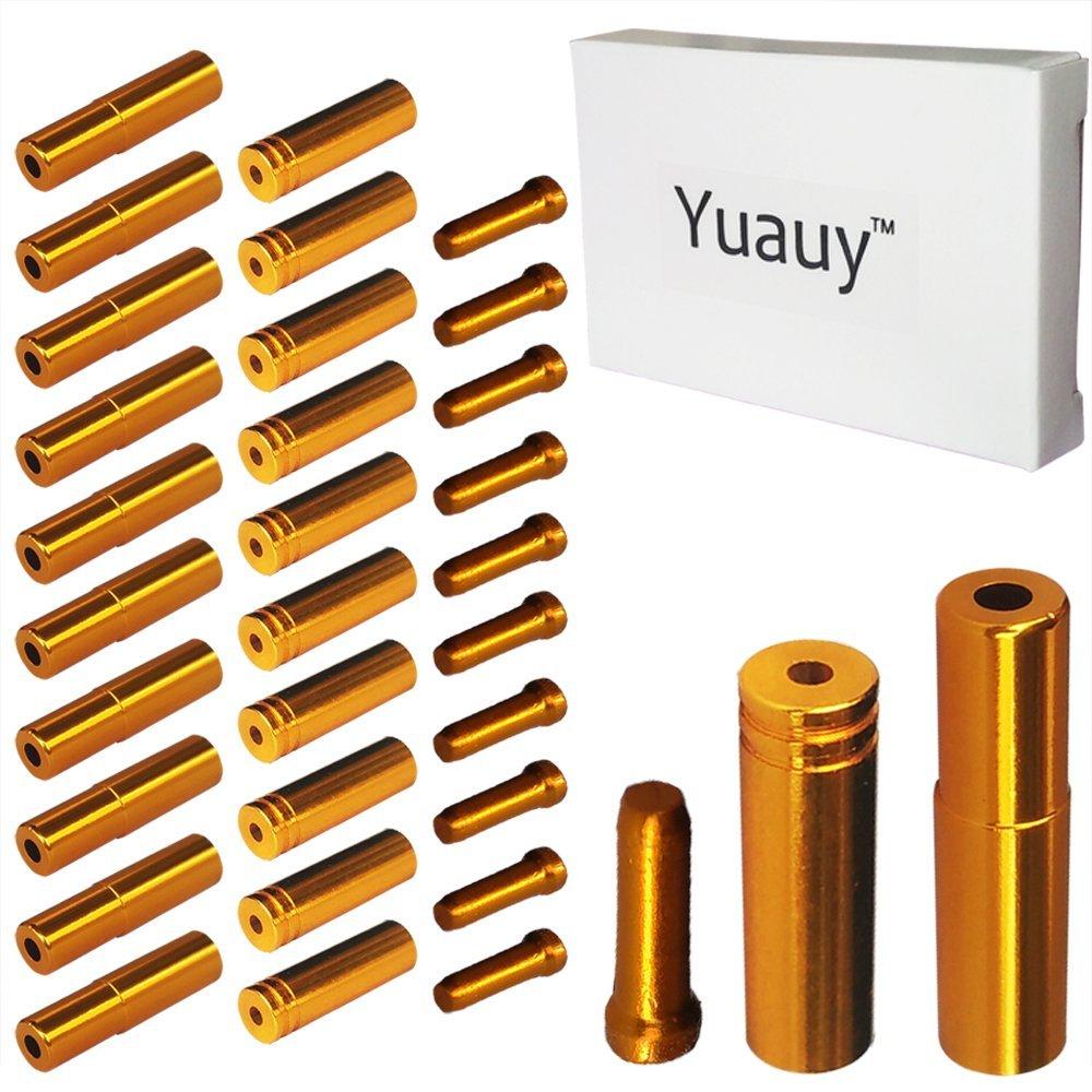 Yuauy (Total 30 PCS) 10 PCs 5mm Golden Alloy Road Mountain Bicycle Bike Brake Cable Tips Caps End Crimp + 10 PCs 4mm Shift Derailleur Cable Tips End + 10 PCs Cable End Crimps