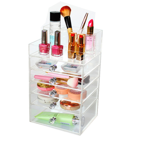 Customized Brush Holder Acrylic Box with Drawer Acrylic Beauty Makeup Organizer Perfume Bottle Storage with Crystal Handle