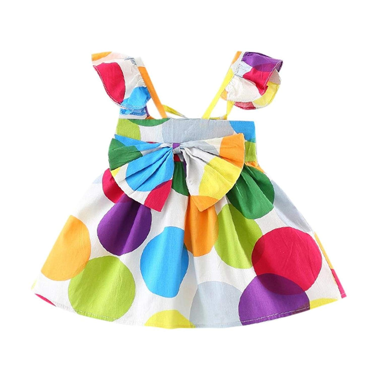517daf2196 TiTCool Baby Girls Super Cute Dress ✅ Sleeveless Color Dot Print Bowknot  Front Size 0-