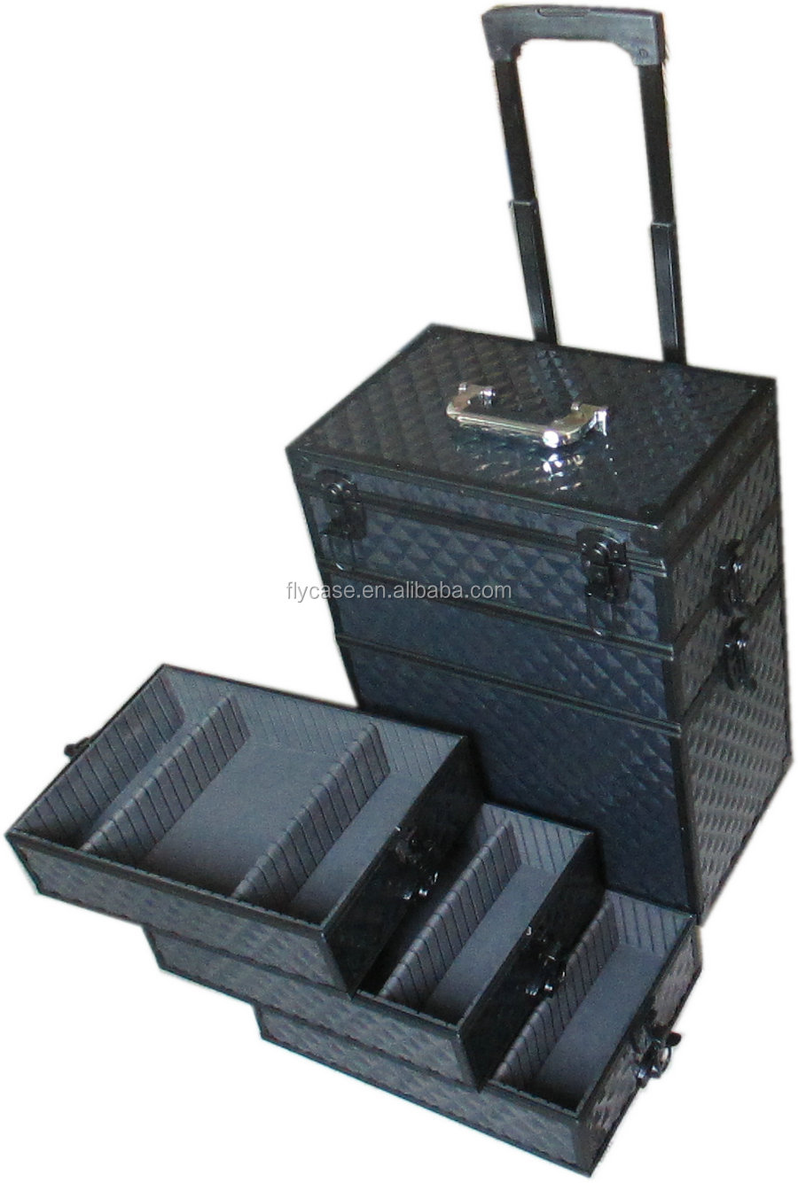 design new abs aluminum makeup trolley case with drawers and foam inside