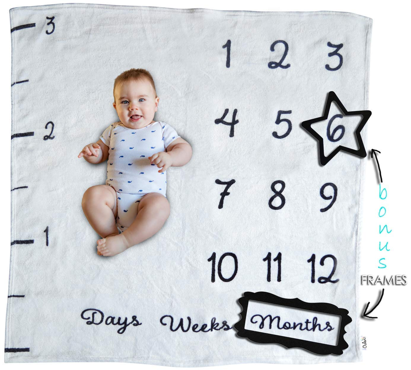 Baby Monthly Milestone Blanket | Newborn Boys and Girls | Unisex Ultra-Soft 40 x 40 in | Month Blanket for Baby Pictures | Premium Quality Fleece | Ideal for Baby Shower Gift | Watch Me Grow