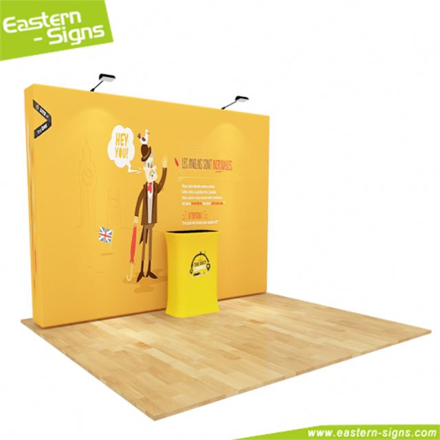 Professional anodized aluminum pole tension fabric display trade show wrinkle free portable exhibition booth favoshow display