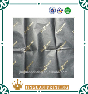 Customized printing black wrapping paper tissue paper with gold logo