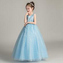 Милое платье с цветами для девочек на свадьбу, бальное платье с О-образным вырезом и аппликацией для детей, кружевные красивые платья для пр...(Китай)