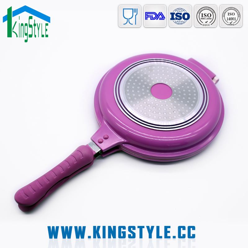 Organic silicone round electric ceramic frying pan, die cast aluminum non-stick double side fry pan