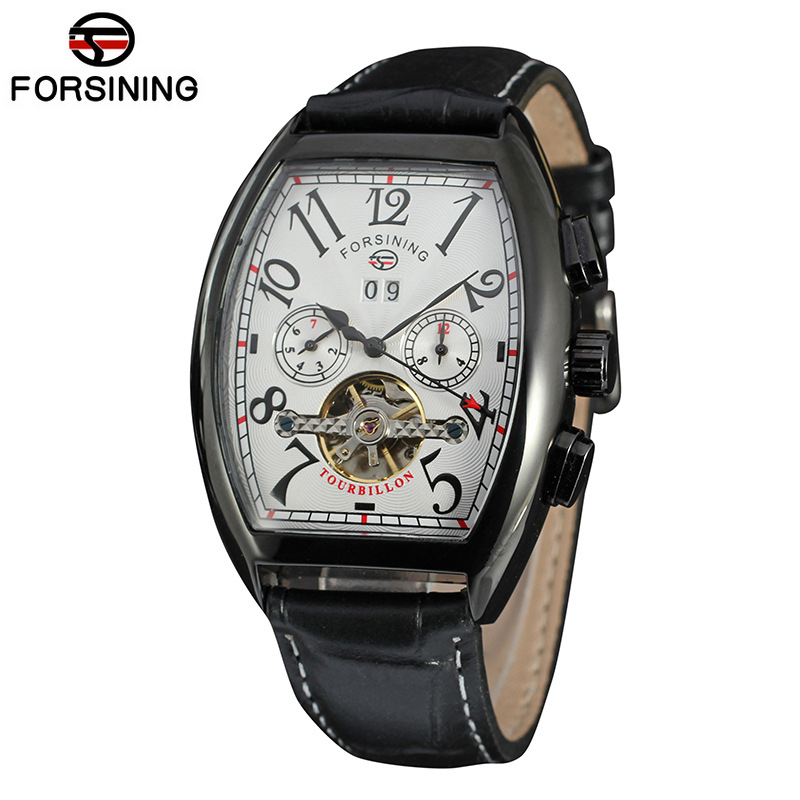 66d3a3331c8 Forsining Multifunction Retro Series Rectangle Dial Genuine Belt  Tourbillion Design Men Automatic Watches Top Brand Luxury Clock