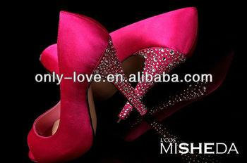 BS662 Custom Make Large Size Peep Toe Fuchsia Wedding Shoes Prom With Rhinestones Heel