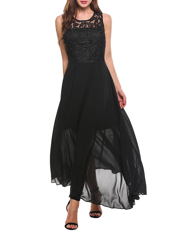 Get Quotations · Zeagoo Women s Sexy Floral Lace Flowy Chiffon Backless  Bridesmaid Maxi Long Dress 10c43b1d0
