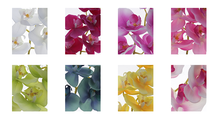 Wholesale 7 Heads Artificial Orchid Plants Natural With Real Touch Silk Phalaenopsis