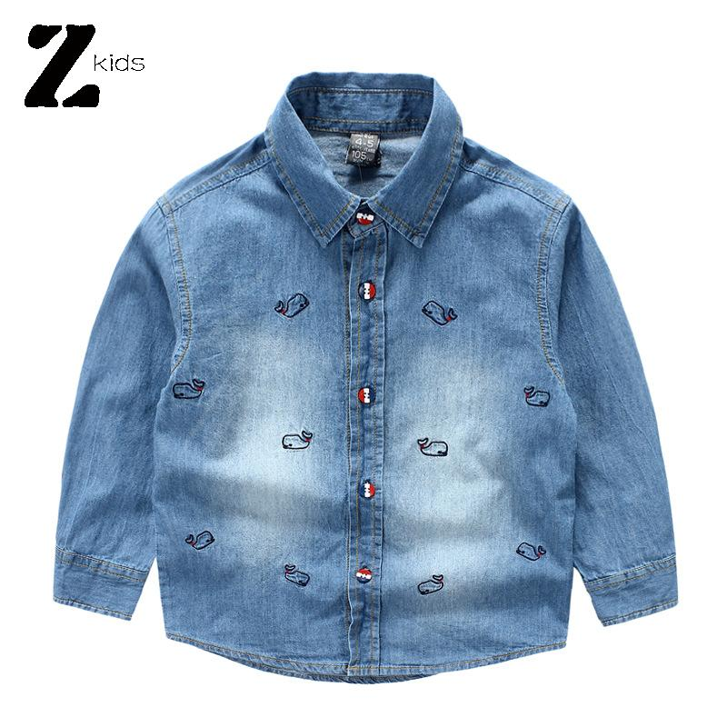 Spring Autumn Boys Shirts 2015 Brand Kids Denim Shirt Long Sleeve Fashion Print Children Clothing Outerwear Cowboy School Shirts