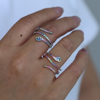 Hot sale wholesale cheaper multi band snake open rings with rainbow cz stone paved engagement finger ring  jewelrly gift