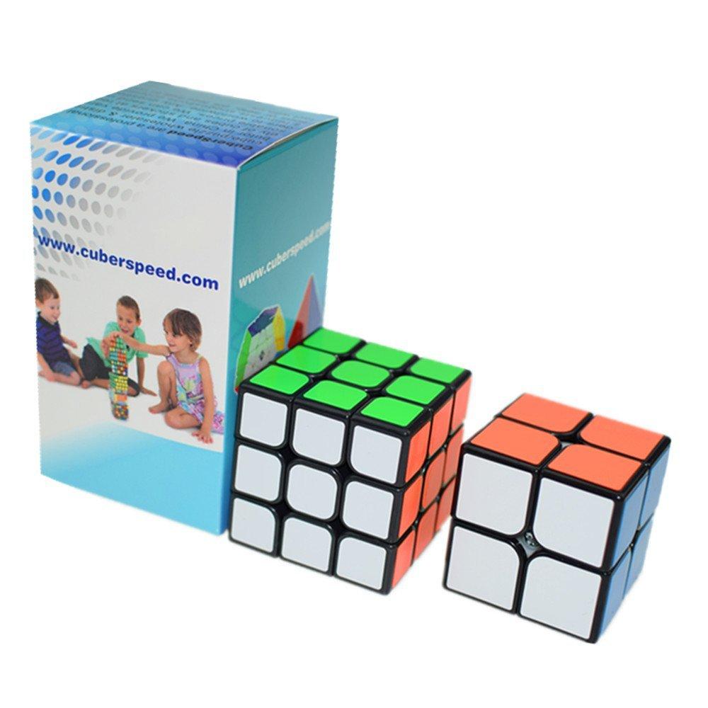 CuberSpeed Speedcubing Beginner Bundle Moyu 2x2 Black & Moyu 3x3 YJ Guanpo 2x2 & Guanlong 3x3 Magic cube Black puzzle