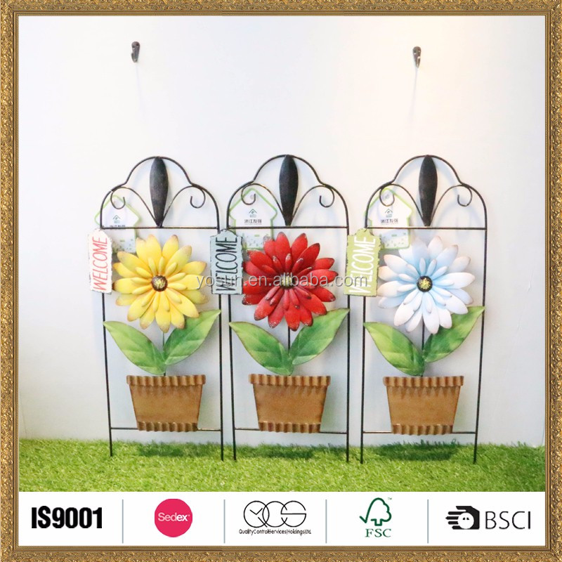 craft metal garden ornaments with flower hnaging