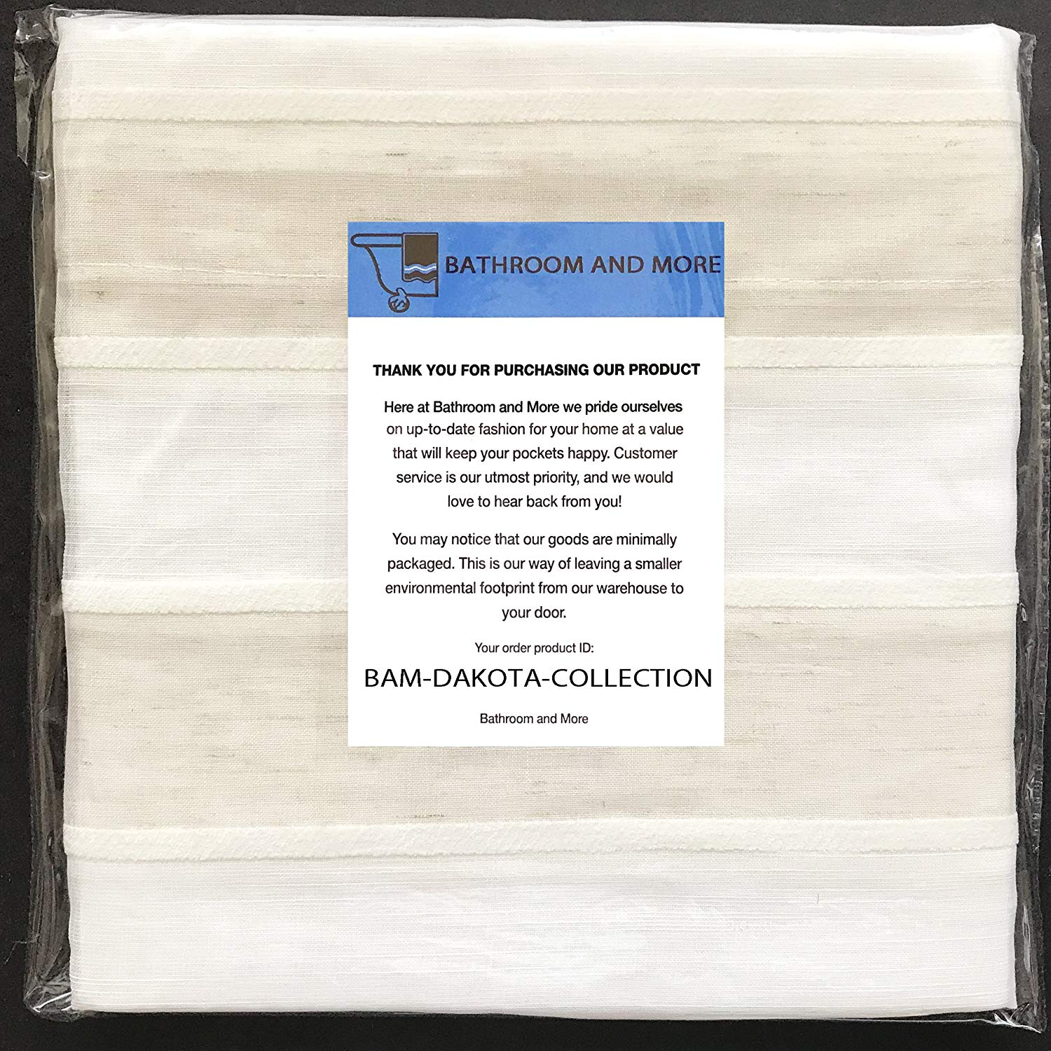 Get Quotations Bathroom And More DAKOTA Collection SHEER Fabric Shower Curtain White Linen Beige Stripe Design