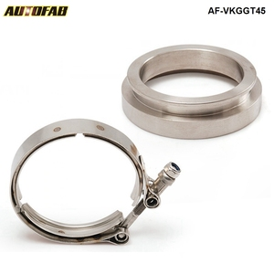 AUTOFAB - GT45 T304 STAINLESS STEEL V-BAND TURBO/TURBOCHARGER DOWNPIPE CLAMP+FLANGE EP-VKGGT45