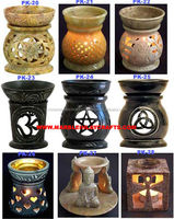 Colored Soapstone Aroma Oil Burners, Hand Carved Soapstone Aroma Lamp