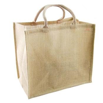 Wholesale burlap hessian gift bags sacks/jute bags shopper printed jute hemp tote bag