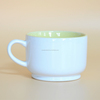 [ZIBO HAODE CERAMIC]white two-tone manufacturer curl shape ceramic cream latte mug