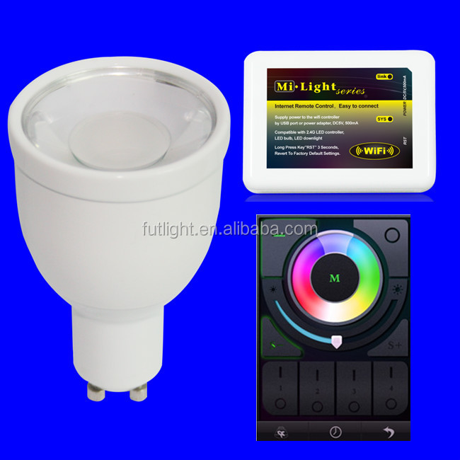 Alibaba lowest price 4w gu10 rgbw led bulb wifi wireless full touch screen remote control led bulb
