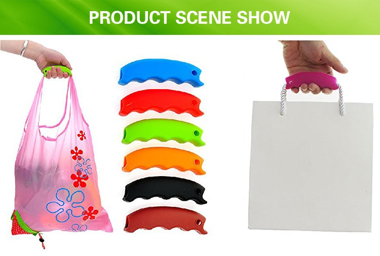 random color silicon shopping bag carrier grocery holder handle retractable handle