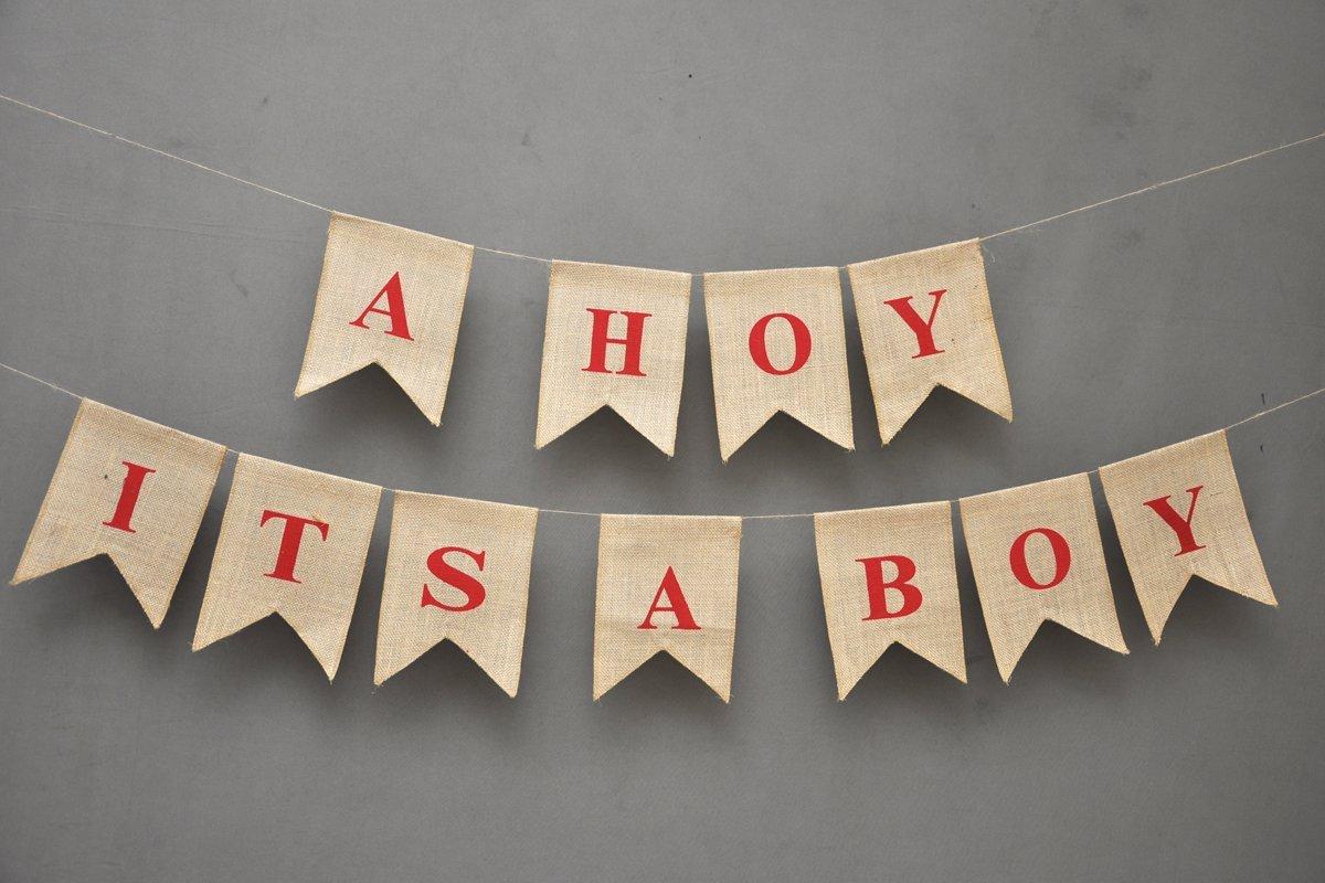 Buy Ahoy Its A Boy Banner Rustic Baby Shower Flag Decor Blue