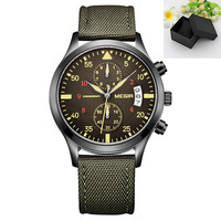 Relogio Megir Men Weave Green Canvas Watch Sports Wristwatch 2016