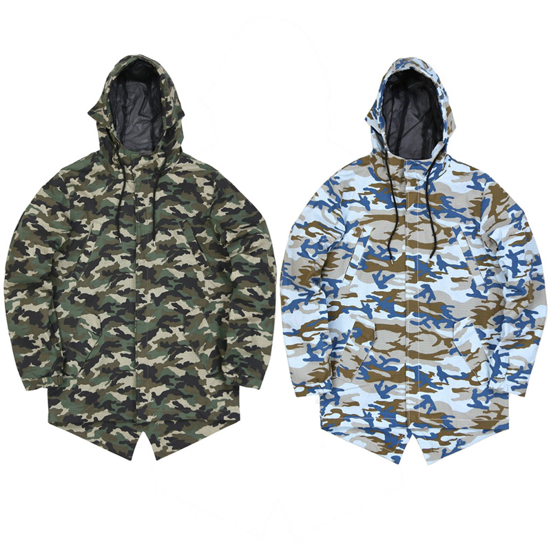 Custom new ripstop camo fishtail parka jacket men