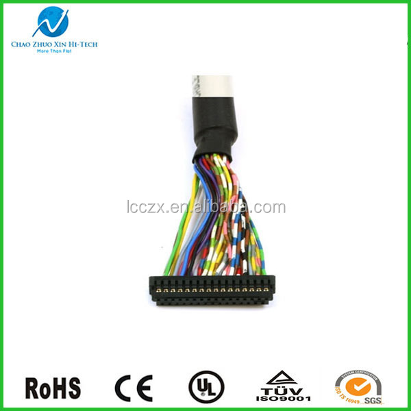 RoHS Compliant 20-pin LVDS Cable with LVDS Socket Connector to Round Wire Harness