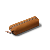 Custom Print Premium PU Leather Pencil Case with Zipper for Students