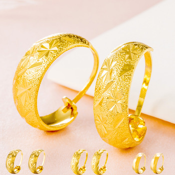 Top Quality New 2017 Latest Gold Earring Designs Dubai Jewelry For Women