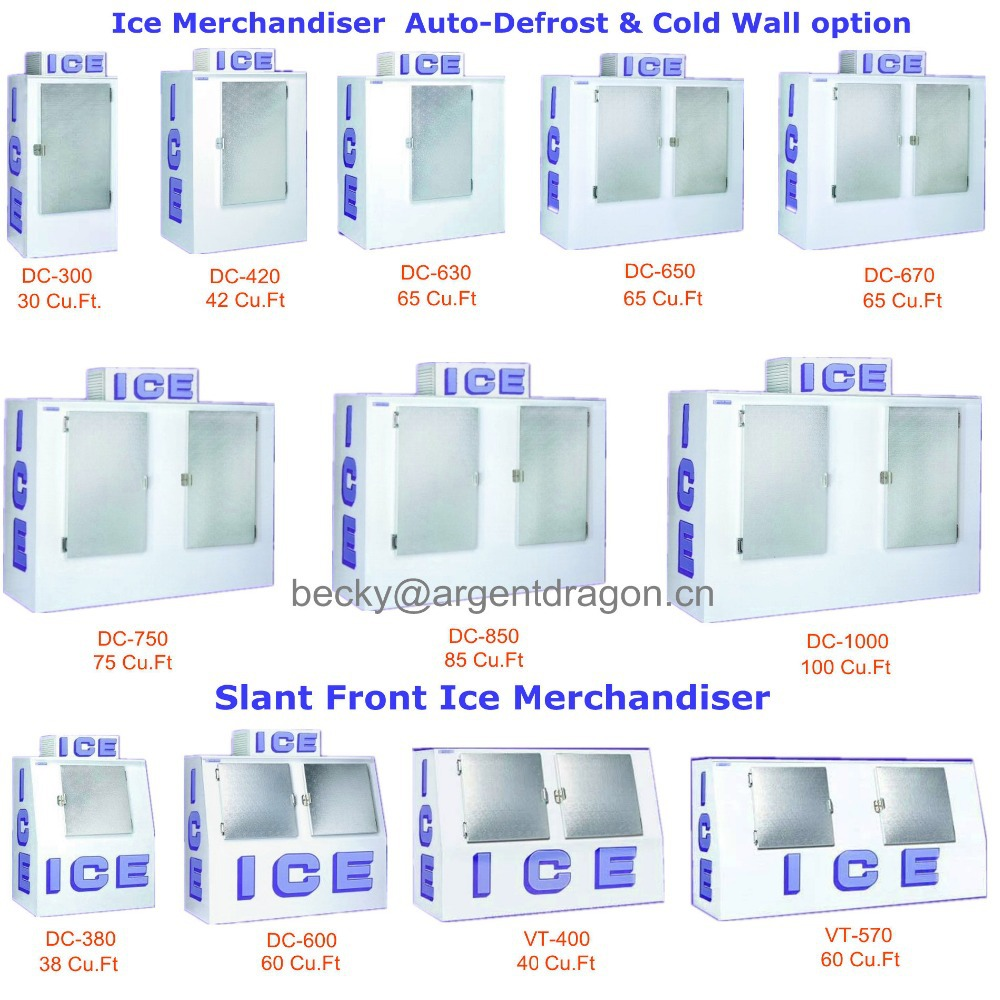 Indoor & outdoor single door gas station bagged ice storage bin for ice storage