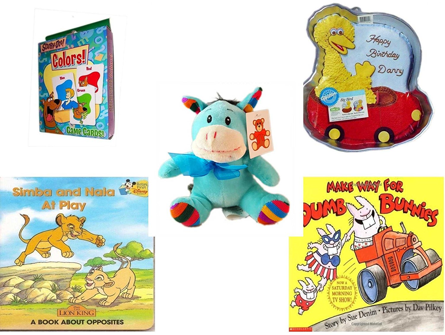 "Children's Gift Bundle - Ages 3-5 [5 Piece] - Transformers Rescue Bots Memory Game - Sesame Street Big Bird Cake Pan - Plush Appeal Rainbow Blue Donkey Plush 6.5"" - Simba and Nala At Play: A Book A"