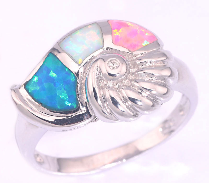 2015 New Style ! Fashion & Wholesale & Retail For Women Jewelry Blue / White / Pink Fire Opal Silver Ring Size 6 7 8 9 OJ7670