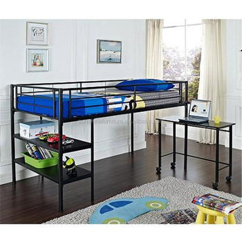 Black Silver Children Bedroom Furniture Twin Kids Low Loft Bed With