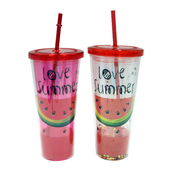 650ml promotional bpa free plastic cold drink tumbler cup with straw