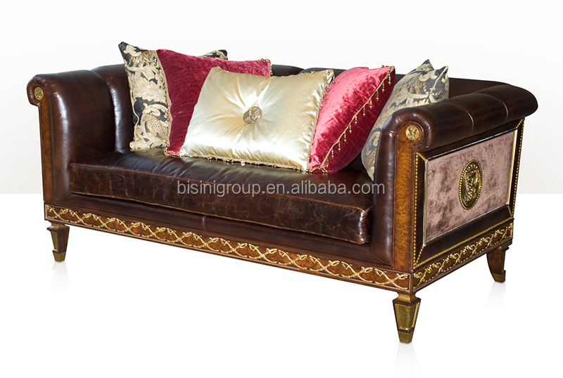 Exquiste Royal Victorian Three Seat Leather Sofa Luxury English Style Living Room Furniture Bf11 10312d