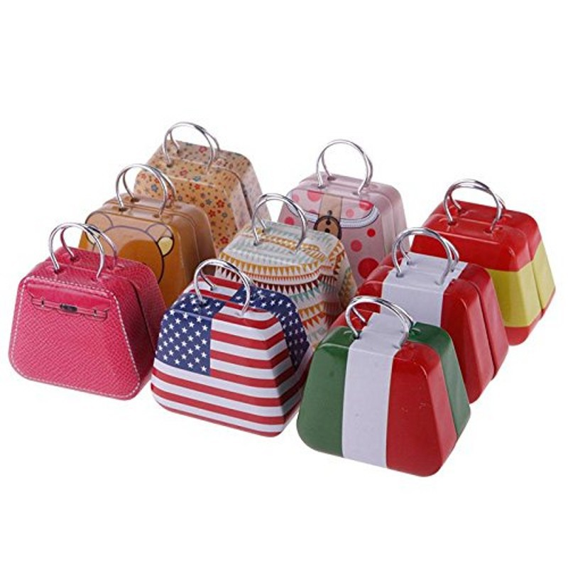 10Pcs Handbag Shape Mini Small Tin Box Coin Candy Jewelry Little Zakka Storage Box