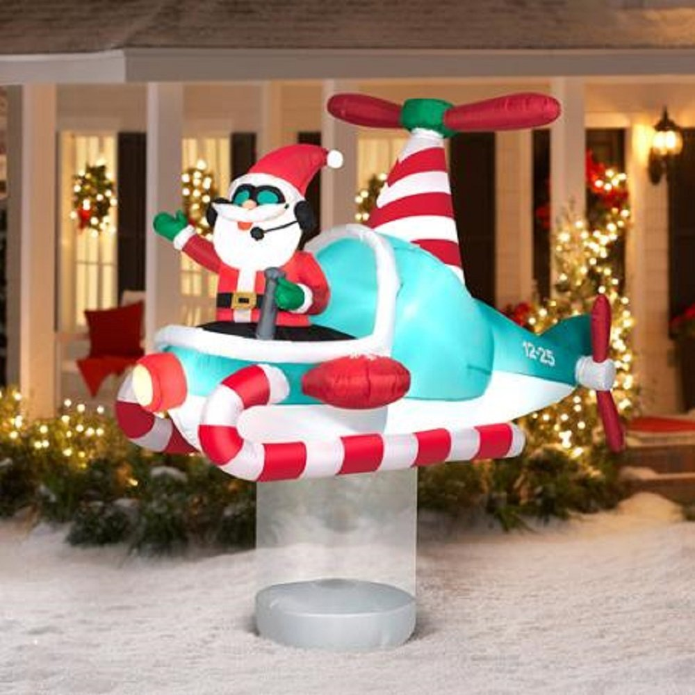 get quotations christmas inflatable 7 santa in hovering candy cane helicopter by gemmy