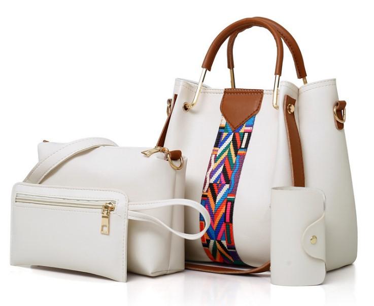 36ea3c653c042 2018 بالجملة النساء أزياء 4 أجزاء حقيبة الكتف بو الجلود مجموعات السيدات 5  في 1 بو